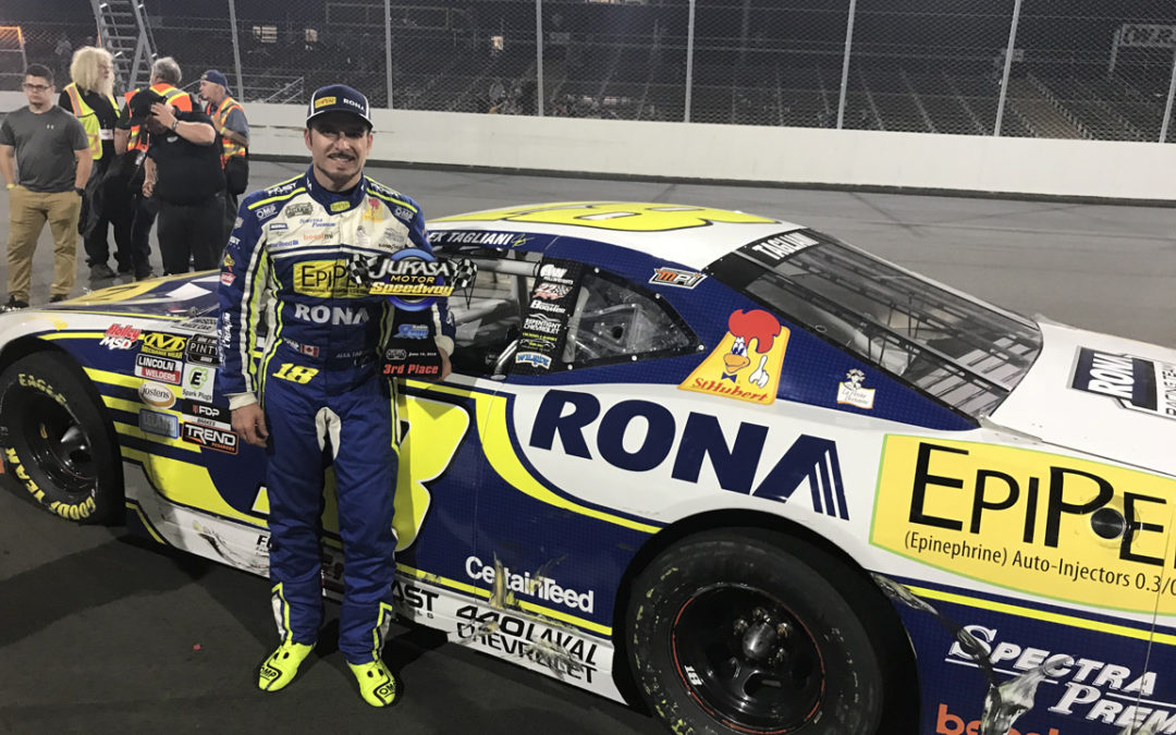 Third Place Finish for Alex Tagliani in Round 2 of the NASCAR Pinty's Series at Jukasa Motor Speedway